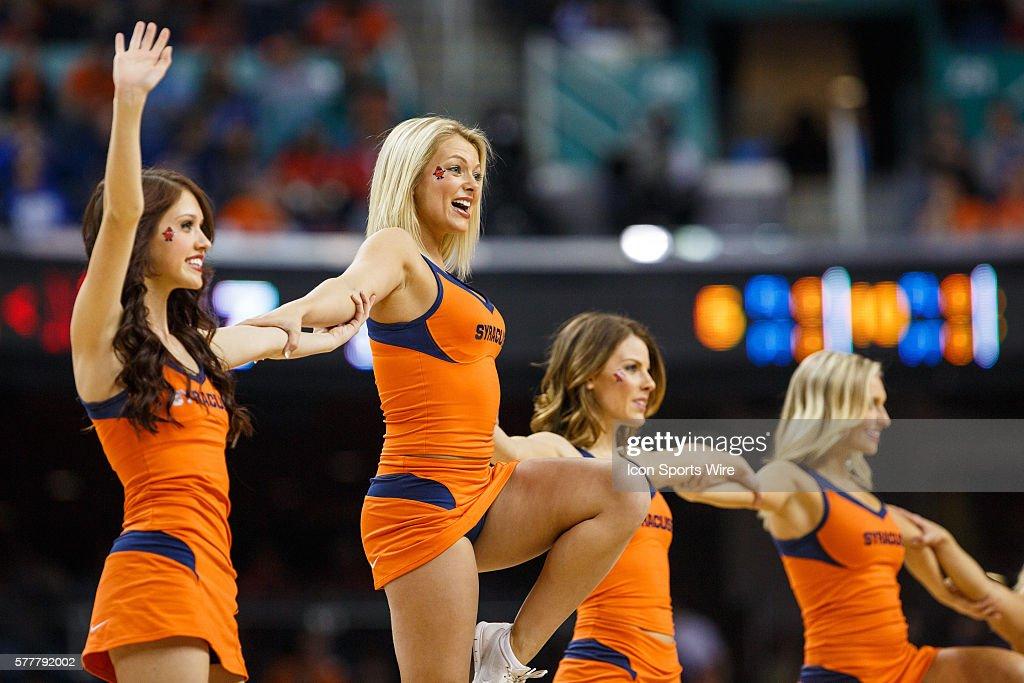 Syracuse Orange Cheerleaders During The Acc 2014 Basketball