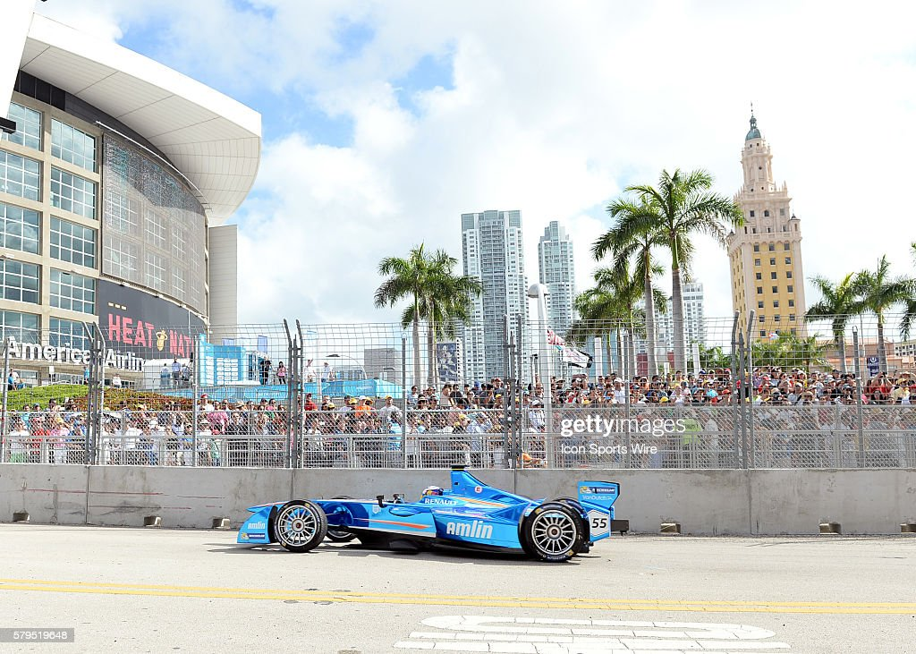 March 14, 2015 Cars race down Biscayne during the FIA Formula E race in Downtown Miami, Florida