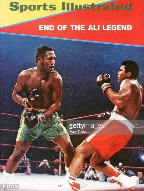 March 15 1971 Sports Illustrated via Getty Images Cover Boxing WBC/WBA Heavyweight Title Joe Frazier in action vs Muhammad Ali at Madison Square...