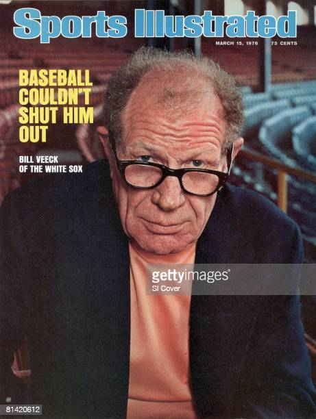 March 15 1976 Sports Illustrated Cover Baseball Closeup portrait of Chicago White Sox owner Bill Veeck at Comiskey Park Chicago IL 3/2/1976