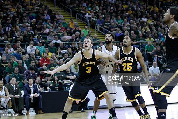 March 11 2014 Milwaukee Panthers forward Kyle Kelm and Milwaukee Panthers guard Steve McWhorter box out Wright State Raiders forward Jerran Young...