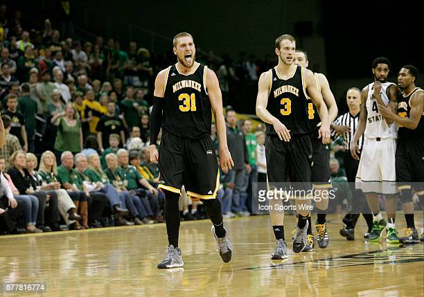 March 11 2014 Milwaukee Panthers forward Matt Tiby celebrates winning the Horizon League Men's Basketball Championship game between the Wright State...