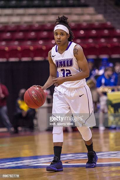 James Madison Dukes guard Angela Mickens sets the offense during the CAA Women's championship game between James Madison Dukes vs Hofstra Pride at...