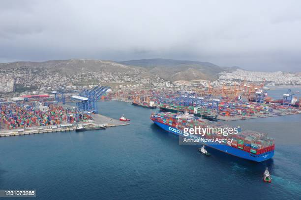 March 15, 2019 -- Aerial photo taken March 15, 2019 shows the COSCO Shipping Pisces approaching Piraeus port, Greece. TO GO WITH XINHUA HEADLINES OF...