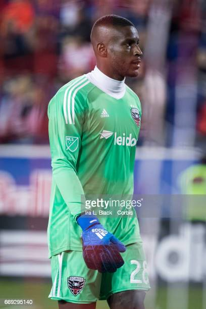 DC United Goalkeeper Bill Hamid shows his intensity during the Soccer MLS New York Red Bulls vs DC United on April 15 2017 at Red Bull Arena in...