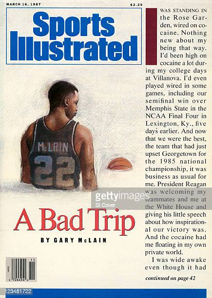 March 16 1987 Sports Illustrated via Getty Images Cover Illustration of former Villanova player Gary McLain and typewritten text authored by McLain...