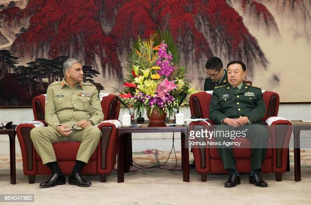 Vice Chairman of China's Central Military Commission Fan Changlong meets with Pakistan Army Chief General Qamar Javed Bajwa in Beijing capital of...