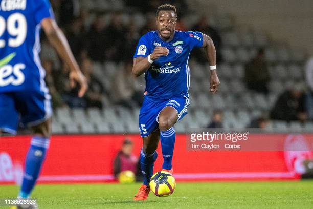 Lamine Kone of Strasbourg in action during the Nimes V Strasbourg French Ligue 1 regular season match at Stade des Costieres on March 16th 2019 Nimes...
