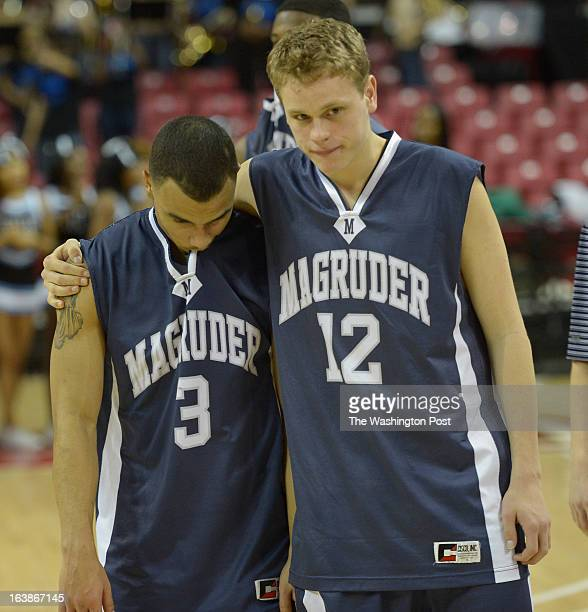 March 16 : Magruder player Matt Ricketts and Josiah Jones after their loss to Eleanor Roosevelt in the Maryland 4A boys' basketball championship on...