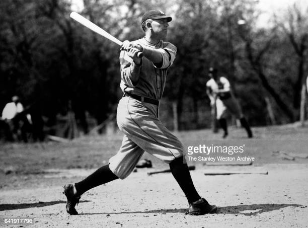 Ty Cobb of Detroit Tigers taking a swing during spring training, on March 16, 1921.