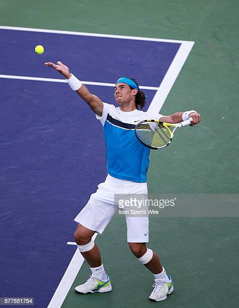 March 17, 2009; Rafael Nadal of Spain serves to Dmitry Tursunov during the BNP Paribas Open at the Indian Wells Tennis Garden in Indian Wells, CA.