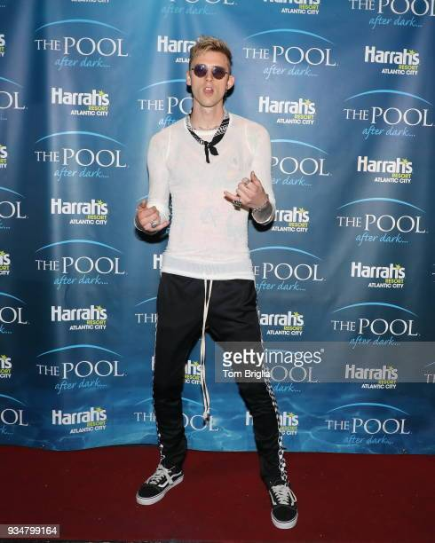 March 17: Machine Gun Kelly performs at The Pool After Dark at Harrah's Resort on March 17, 2018 in Atlantic City, New Jersey.