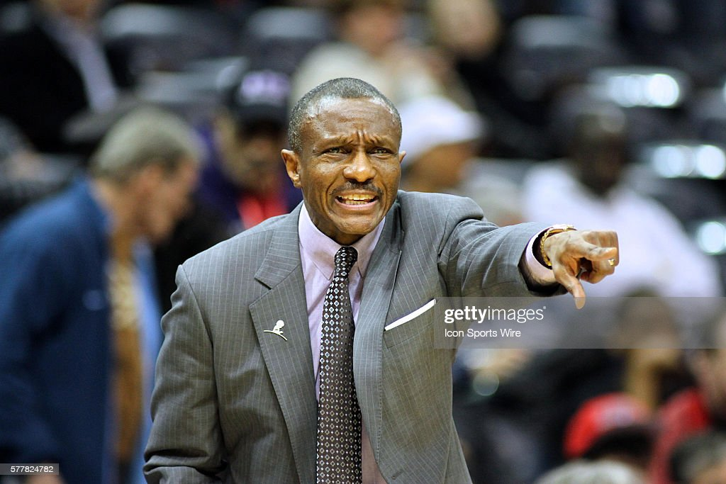 Toronto head coach Dwane Casey during the NBA match up between the Atlanta Hawks and the Toronto Raptors at Philips Arena in Atlanta, Georgia. The Atlanta Hawks extended their season-high win streak to five games by beating the Raptors 118-113 in overtime.