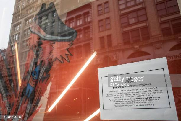 March 18 MANDATORY CREDIT Bill Tompkins/Getty Images Adidas store closing due to the coronavirus COVID-19 pandemic on March 18, 2020 in New York City.