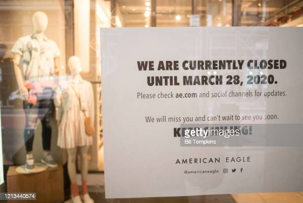March 18 MANDATORY CREDIT Bill Tompkins/Getty Images American Eagle store closing due to the coronavirus COVID-19 pandemic on March 18, 2020 in New...