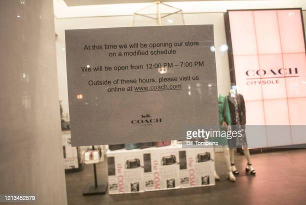 March 18 MANDATORY CREDIT Bill Tompkins/Getty Images COACH store closing due to the coronavirus COVID-19 pandemic on March 18, 2020 in New York City.