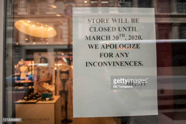 March 18 MANDATORY CREDIT Bill Tompkins/Getty Images Victoria's Secrets store closing due to the coronavirus COVID-19 pandemic on March 18, 2020 in...