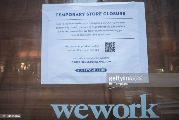 NEW YORK NY March 18 MANDATORY CREDIT Bill Tompkins/Getty Images WeWork store closing due to the coronavirus COVID19 pandemic on March 18 2020 in New...