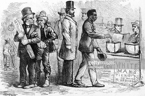 March 1867 Harper's Weekly political cartoon by American cartoonist Thomas Nast depicting an AfricanAmerican man casting his ballot into a ballot box...