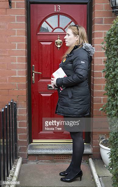 OLDHAM MANCHESTER ENGLAND March 18th 2016 Angela Rayner Labour MP for AshtonunderLyne Angela Rayner out campaigning in Oldham Manchester