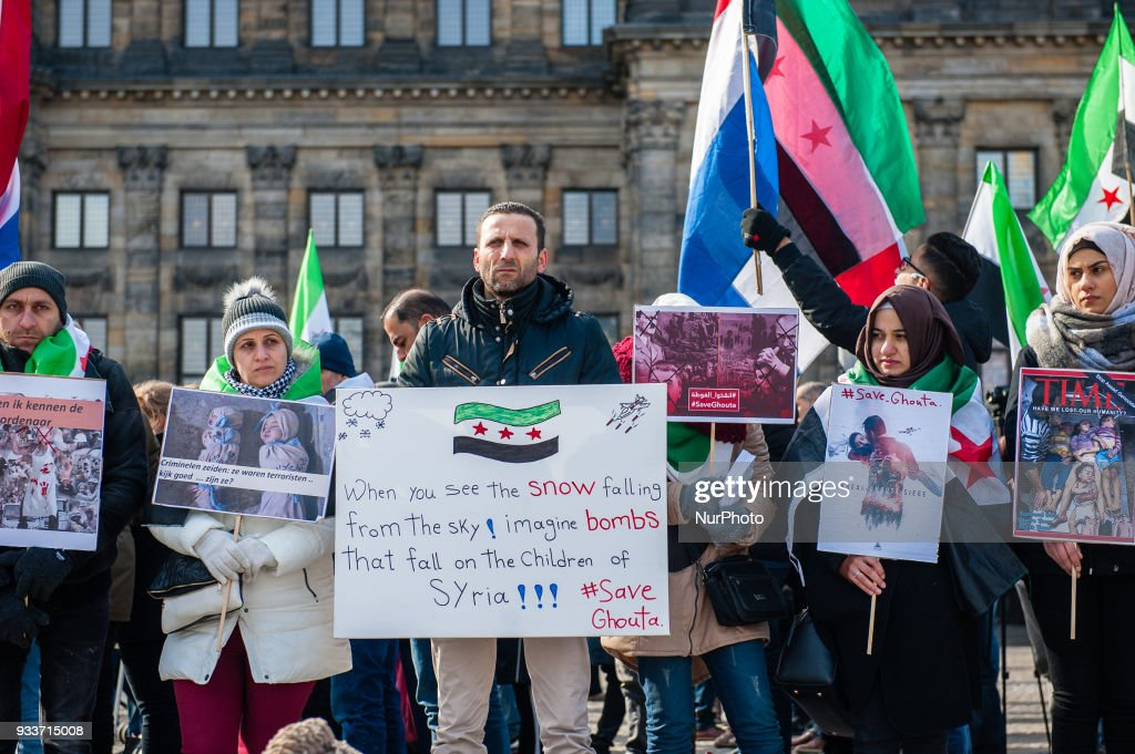 Demonstration 'Seven Years of Revolution, Save Ghouta' in Amsterdam