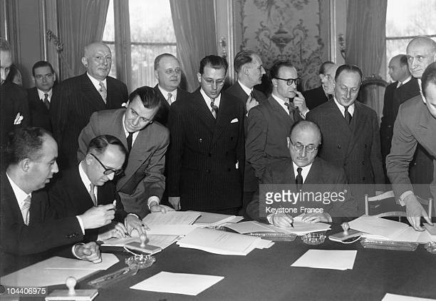 March 19 1951 At the Quai d'Orsay in Paris Professor Walter HALLSTEIN head of the German delegation for negotiations concerning the ECSC and Jean...