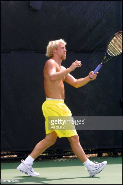 March 19 2001 ATP Tennis Pro Stefan Koubek Austria works on his sun tan and beard as he prepares for the 2001 Ericsson Open Stefan was the 2000...