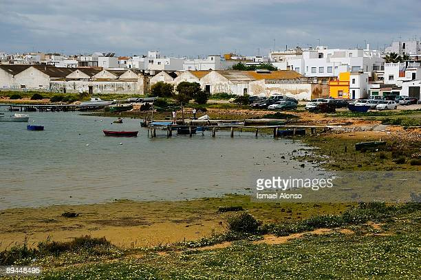March 19 2008 Barbate Andalusia Cadiz Spain The village of Barbate and the marshes surrounding it