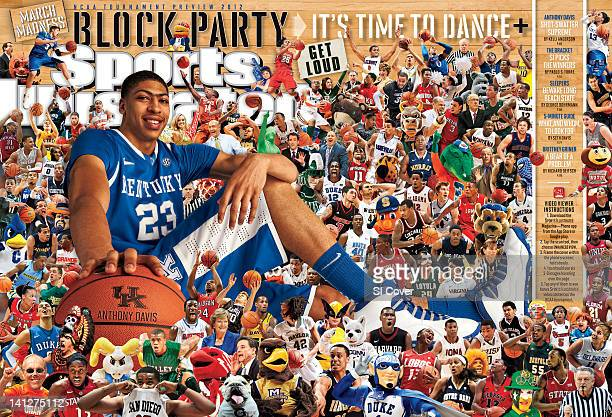 College Basketball March Madness Preview Portrait of Kentucky Anthony Davis during photo shoot at Joe Craft Center Composite photo illustration by SI...