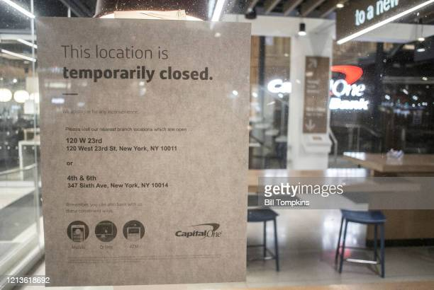 NEW YORK NY March 19 MANDATORY CREDIT Bill Tompkins/Getty Images Capital One bank closes due to the coronavirus COVID19 pandemic on March 19th 2020...