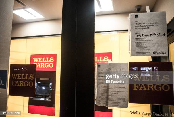 March 19 MANDATORY CREDIT Bill Tompkins/Getty Images Wells Fargo bak branch closed due to the coronavirus COVID19 pandemic on March 19th, 2020 in New...