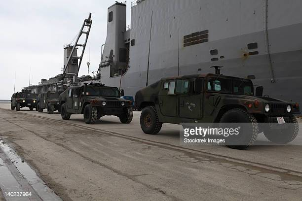 march 19, 2011, u.s. marines depart uss harpers ferry in humvees off the coast of japan in support of operation tomodachi.  - emergency management stock pictures, royalty-free photos & images