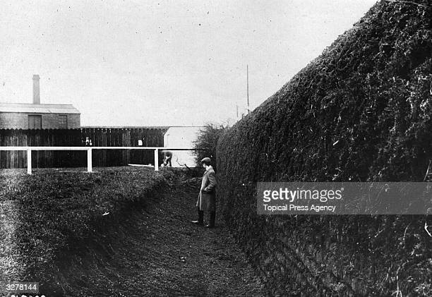 The landing side of Becher's Brook the highest fence on the Grand National course at Aintree Liverpool