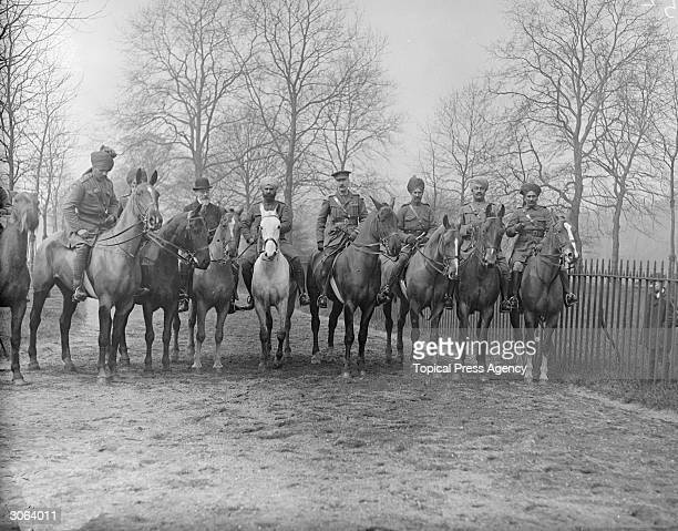 Mounted soldiers of the Indian Army on Rotten Row in Hyde Park London after a military inspection by King George V
