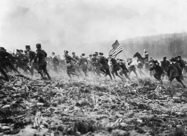 American troops preparing for WW I on a mock battlefield....