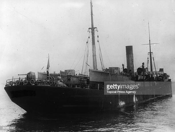 The Italian liner 'Adriatico Palermo' converted for antisubmarine patrols for the American navy