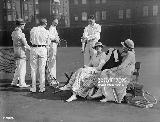 Group of tennis players at Queen's Club, Captain Anson, Gordon Lennox, Captain Compton, Mr Scott Robson, Miss Scott Robson and Miss Farquharson