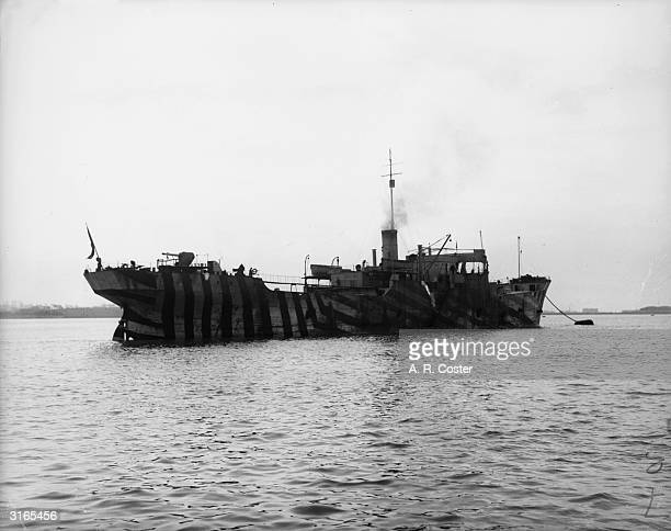 War Master' tanker with dazzle camouflage at Harwich.