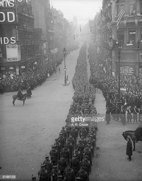 Guards march through London after World War I