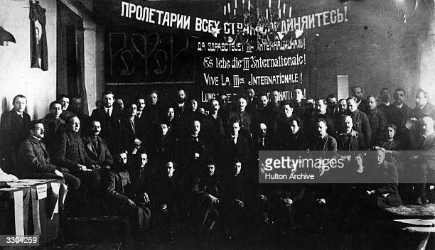 Party members present at the opening of the First Congress of the 3rd International which was dominated by Vladimir Ilyich Lenin .