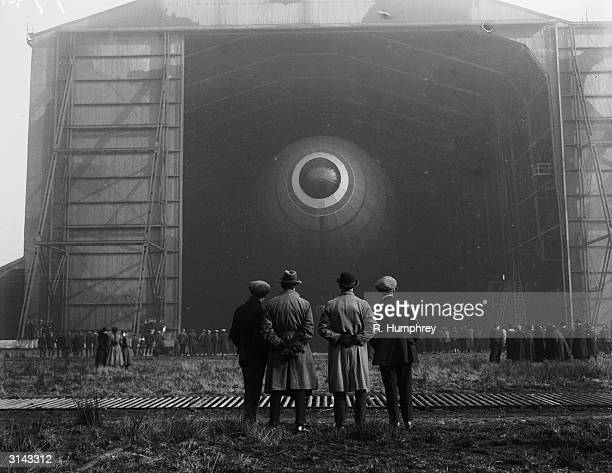 The British airship R33 in its hangar as it prepares for its first ever flight at an aerodrome in Barlow Yorkshire