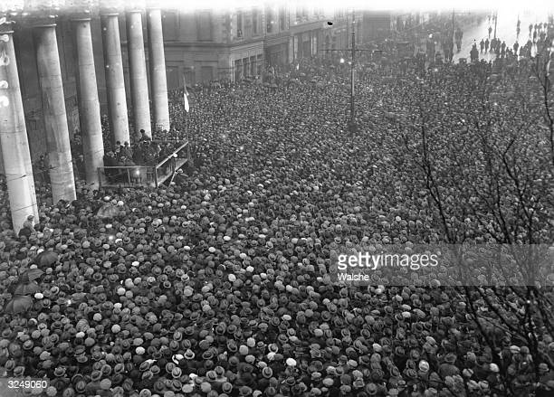 After signing the Treaty establishing the Free State Irish politician and Sinn Fein leader Michael Collins addresses a gathering at College Green...