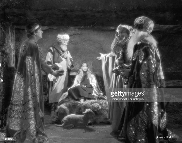 The Three Kings visit Mary Joseph and the infant Jesus in a controversial nativity scene from the Roman epic 'BenHur' directed by Fred Niblo