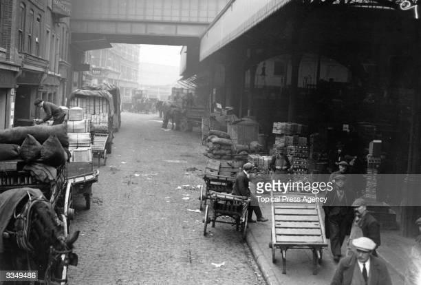 Goods outside Borough market in London