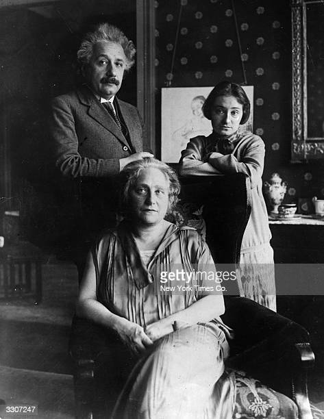 German physicist Albert Einstein with his wife Elsa and daughter Margot at their home in Berlin