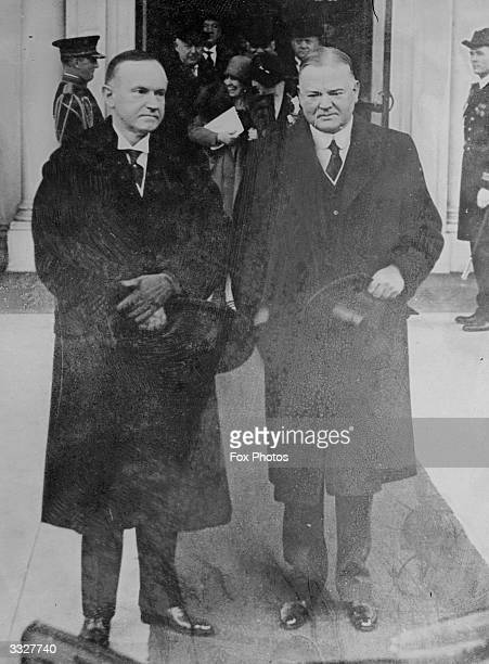 The 31st President of the United States Herbert Hoover and his predecessor, former President Calvin Coolidge .