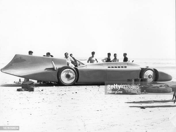 """The 30footlong """"Bluebird V"""" is prepped for a world land speed record attempt on Daytona Beach Expecting his Rolls Roycepowered machine to easily top..."""