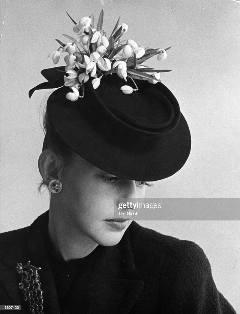 An Easter bonnet designed by Aage Thaarup, decorated with snowdrops. Original Publication: Picture Post - 443 - The Birth Of An Easter Bonnet - pub. 1940