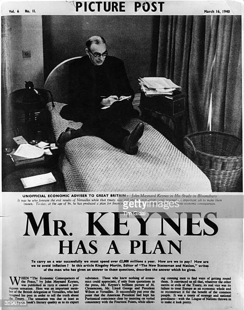 English economist John Maynard Keynes , created 1st Baron Keynes, the 'unofficial economic adviser to Great Britain', in his study at Bloomsbury,...