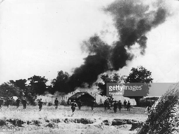 British and Indian Troops of the 14th Army in Burma, advancing on a town 80 miles south of Mandalay.